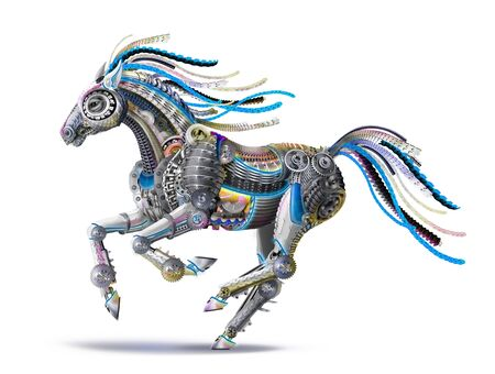 futuristic robot steel horse runs a gallop