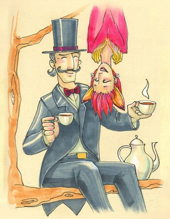 Illustration in cartoon style. crazy couple in carnival costumes drinks tea on a tree. tomfoolery