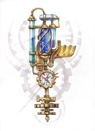 Steampunk Time Machine Key. freehand drawing. marker and color pencil Reklamní fotografie
