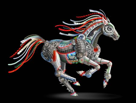 bright horse robot from mechanical parts. cyberpunk