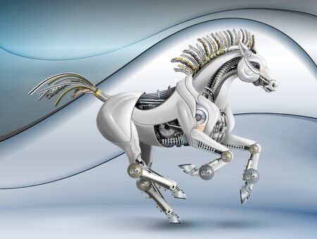 a horse made of metal and plastic. mechanical galloping