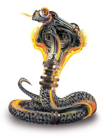 Robot cobra. cyberpunk, metal, fire, and rubber mechanical snake 免版税图像