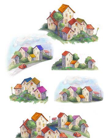 set Watercolor town. Adorable childish illustration in retro style 免版税图像