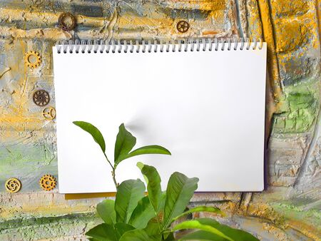 notepad on a color wall with a plant and gears 免版税图像