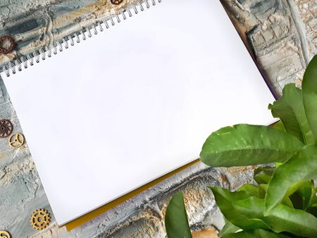 notepad on a wall with a plant and gears