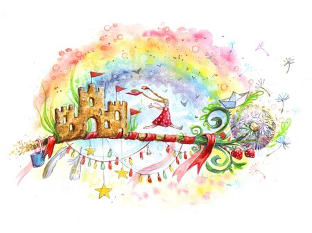 key to childhood. A magic key from a fluffy dandelion on a rainbow background, fabulous sand castles instead of a groove, garlands, flags and a little happy girl in red dress running to a brighter future. watercolor illustration, hand-drawing. 免版税图像