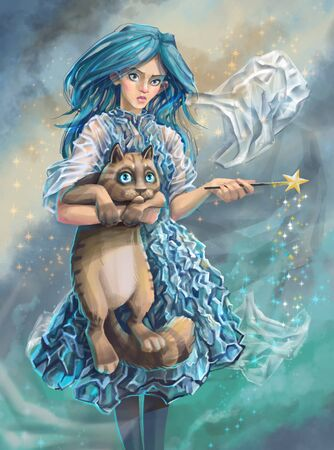 plastic fairy and her disgruntled cat. illustration about environmental issues