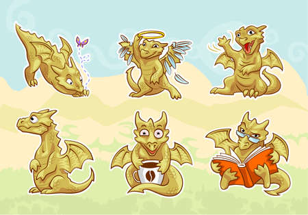 cute golden dragon stickers set, emotions and activities