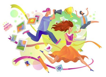 office life, deadline. illustration the girl, the photographer and the boss 矢量图像