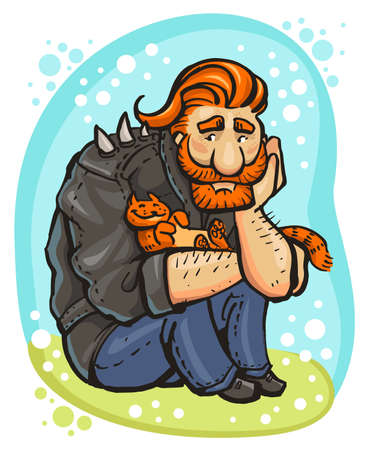 big red-haired biker and his ginger cat 矢量图像