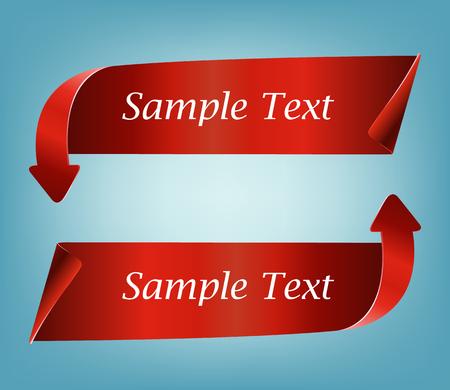 flechas curvas: Realista detallado flechas curvas cinta de la bandera de papel de color rojo aisladas sobre fondo azul.
