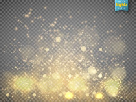 isolated: Christmas concept. Vector gold glitter particles background effect. Fallen glow magic stars