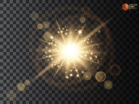 Transparent glow light effect. Star burst with sparkles. Gold glitter Stock Illustratie
