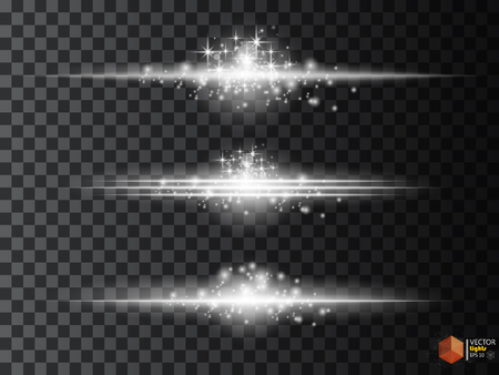 sci: Glowing white light effects collection isolated on transparent. Abstract realistic Sci Fi highlights . Creative , modern concept . Vector illustration . Glowing particles. luminous object set Illustration