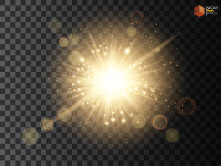 Transparent Golden Glow light effect. Star burst with sparkles