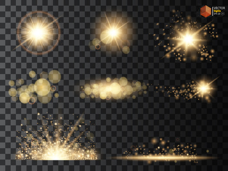Golden glitter bokeh lights and sparkles. Shining star, sun particles and sparks with lens flare effect on transparent background