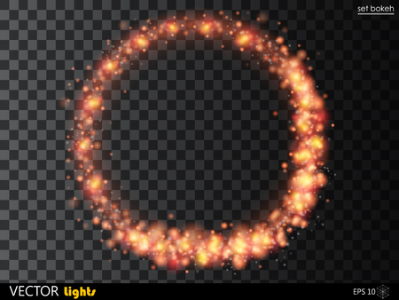 radiant: Vector glowing fire or red ring of shine particles. Abstract glittering shape on transparent background. Illustration