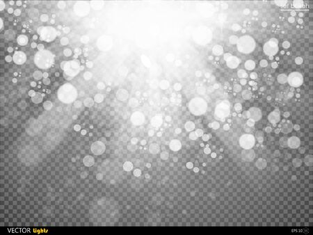 radiance: Sunlight or burst vector special light effect isolated on plaid background. Glowing sun rays and toned radiance with transparency