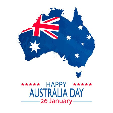 26 January Happy Australia Day. Retro Grunge Background and Flag Illustration and Vector Elements National Concept Greeting Card, Poster or Web Banner Design Illustration