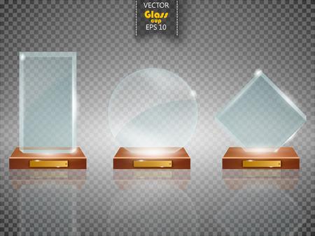 Moderne trophées de coupe du verre et des prix en vue de côté défi icônes réalistes collection fond isolé transparent illustration vectorielle Vecteurs