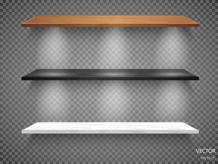 expansive: Vector Empty Wooden Shelves Isolated on Wall Background