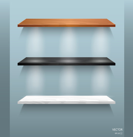 exhibit houses: Vector Empty Wooden Shelves Isolated on Wall Background