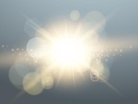 bagliore trasparente effetto di luce. Star burst con le scintille. scintillio dell'oro Vettoriali