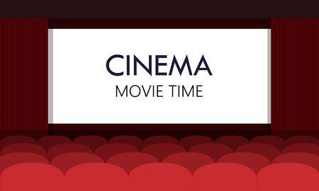 auditorium: Cinema auditorium with screen and red seats. Vector. Illustration