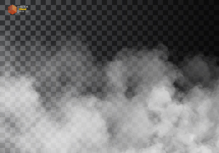 Fog or smoke isolated transparent special effect. White vector cloudiness, mist or smog background. Vector illustration Stock Illustratie