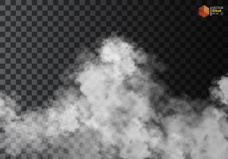 Fog or smoke isolated transparent special effect. White vector cloudiness, mist or smog background. Vector illustration Çizim