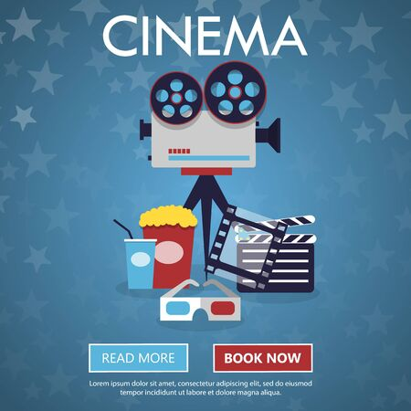 full screen: Movie cinema premiere poster design. Vector template banner for show with seats, popcorn, tickets