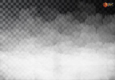Brouillard ou fumée isolé effet spécial transparent. Blanc vecteur nébulosité, le brouillard ou le smog fond. Vector illustration