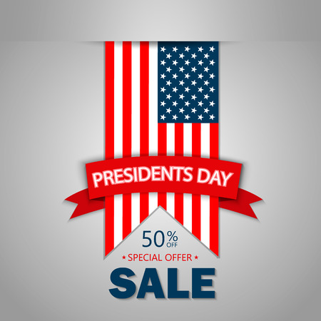 Presidents Day Sale, USA National Flag. Background flat design 免版税图像 - 70460840