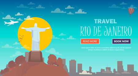 Travel in Rio de Janeiro, Brazil. Statue of Jesus Christ on the mountain. Flat design.