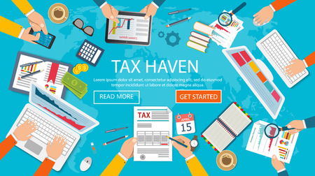 State taxes. Tax payment. Government taxes. Data analysis, paperwork, financial research, report. Businessman calculation tax. Calculation of tax return. Flat design Stock Vector - 74713934