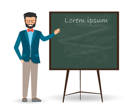 Teacher, professor standing in front of blackboard teaching student in classroom at school, college or university. Flat design people characters. On a white background