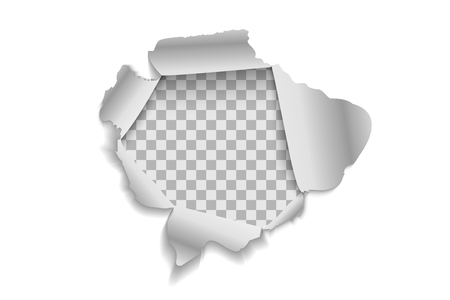 Torn paper realistic, hole in the sheet of paper on a transparent background. Vector illustrations EPS10