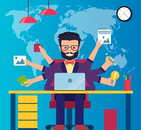 ワークスペースのプロ作業の開発者、プログラマ、システム管理者またはデザイナー デスク、椅子します。従業員の仕事場。ベクトル EPS10
