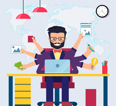 Workspace of Professional Working Developer, Programmer, System Administrator or Designer with desk, chair. Employee office workplace. Vector EPS10 Illustration