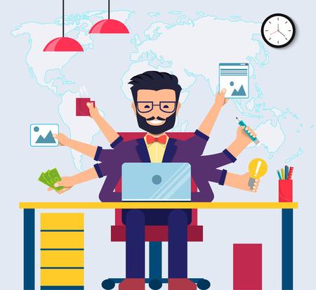 Espace de travail de développeur professionnel, programmeur, administrateur système ou concepteur avec bureau, chaise. Lieu de travail du personnel. Vecteur eps10