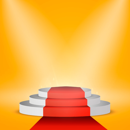 Illuminated Podium Scene with Red Carpet for Award Ceremony on Orange Background. Vector. EPS10 Illustration