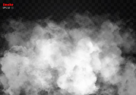 poison: Fog or smoke isolated transparent special effect. White vector cloudiness, mist smog background. illustration