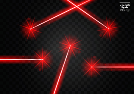Set abstract red laser beams. Isolated on transparent black background. Vector illustration