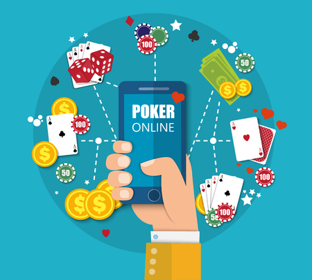 Online mobile casino background. Poker app online concept. Smartphone with cards and coins. Vector EPS10