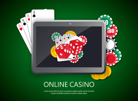 Online casino design poster banner. Tablet with poker chips and cards on table. Casino gambling background, poker mobile app. Vector EPS10