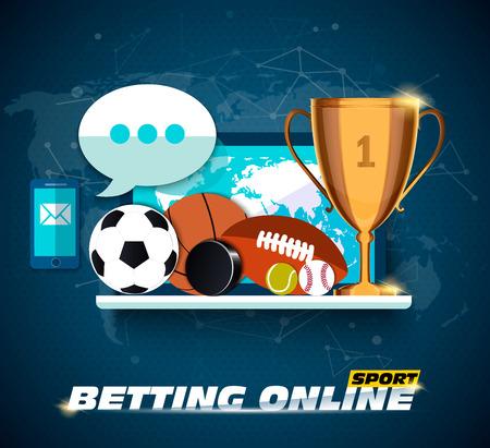 Concept for web banner sports betting statistics. Flat design icons for sports theme. Football, basketball, hockey betting. Vector EPS10 Vektoros illusztráció