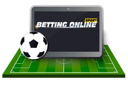 Concetto per le statistiche di scommesse sportive di banner web. App per dispositivi mobili. Icone di design piatto per tema sportivo. Scommesse sul calcio. Vector EPS10
