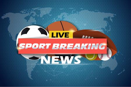 Fond de nouvelles sportives, dernières nouvelles, thème de nouvelles sportives. Vecteur eps10