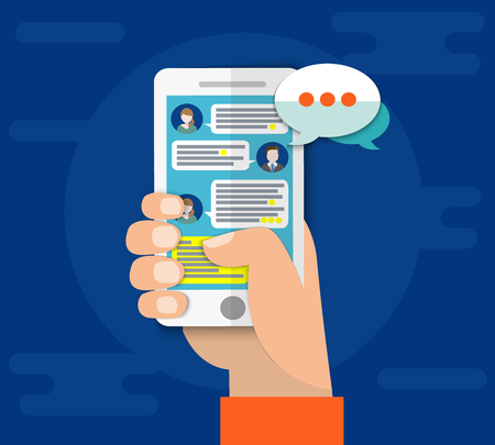 smartphone apps: Mobile phone chat message notifications vector illustration isolated on color background, hand with smartphone and chatting bubble speeches, concept of online talking, conversation, dialog, chatbot Stock Photo
