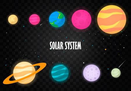 uranus: The solar system, the planet on the universe starry background. Vector illustration, modern cartoon style.